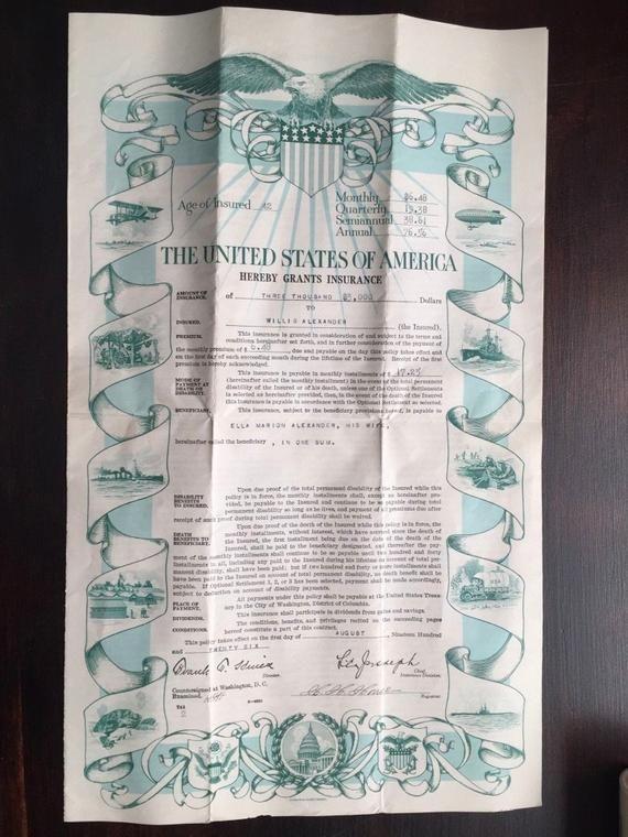 Vintage Wwi Bureau Of War Risk Insurance United States Government