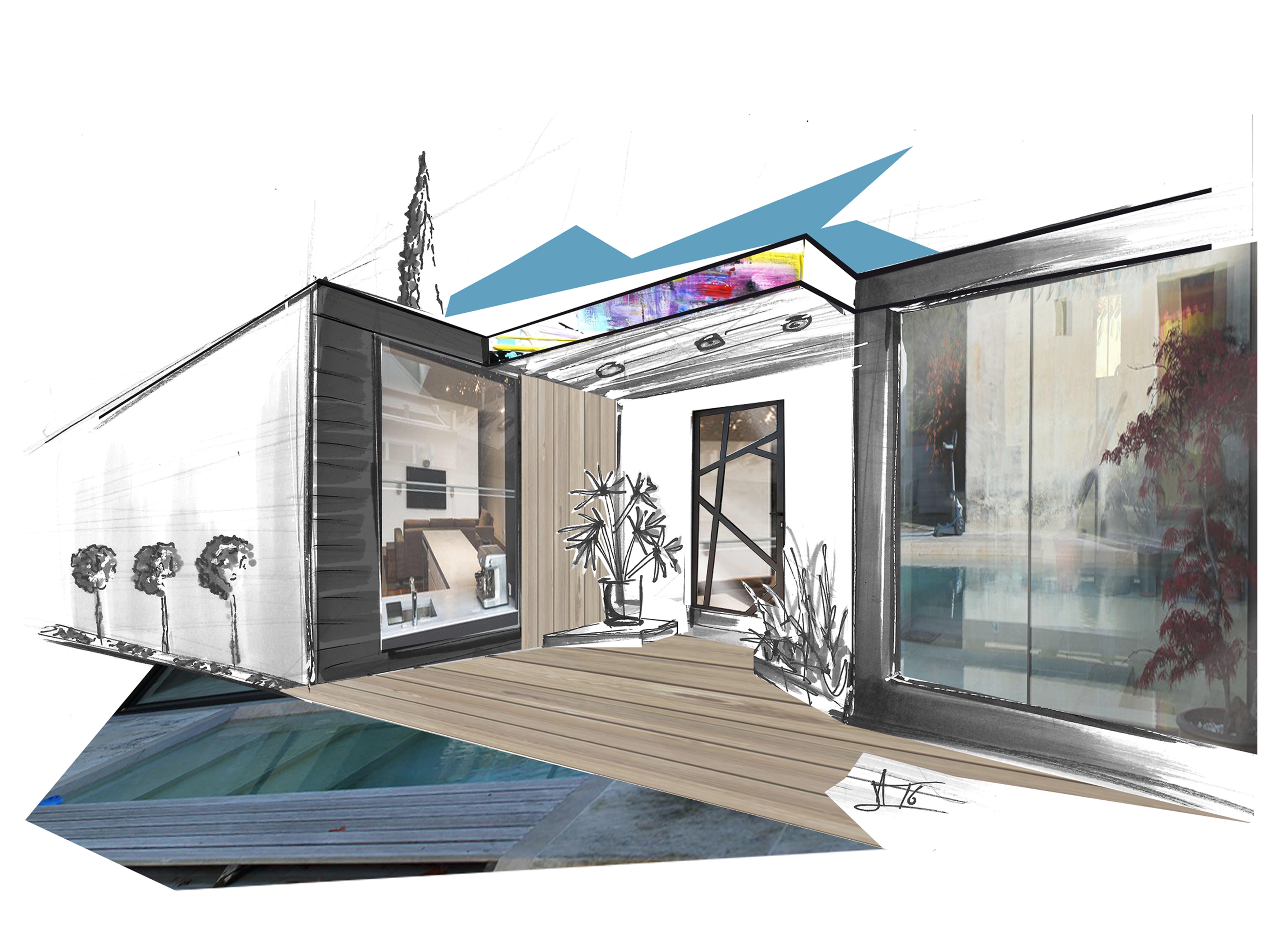 Dessin perspective croquis paysage artiste alexandre for Dessin architecte interieur
