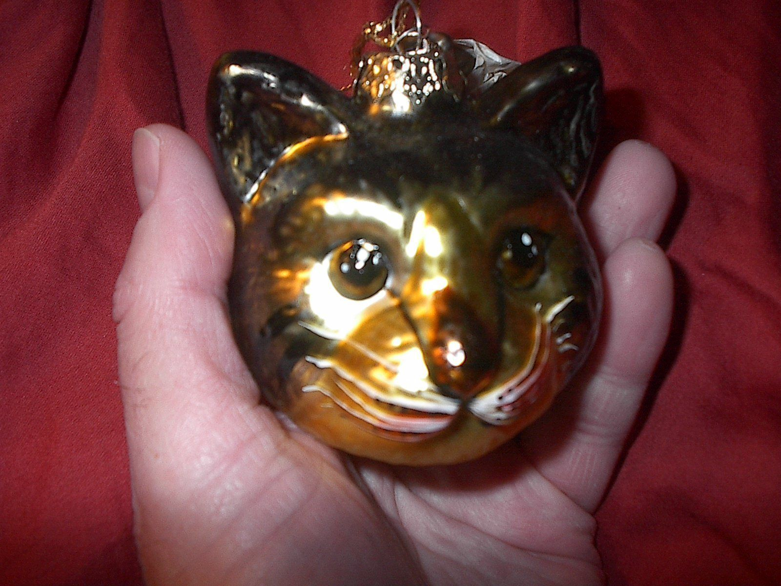 New Black Gold Christmas Tree Ornament Cat Head Kitty Hand