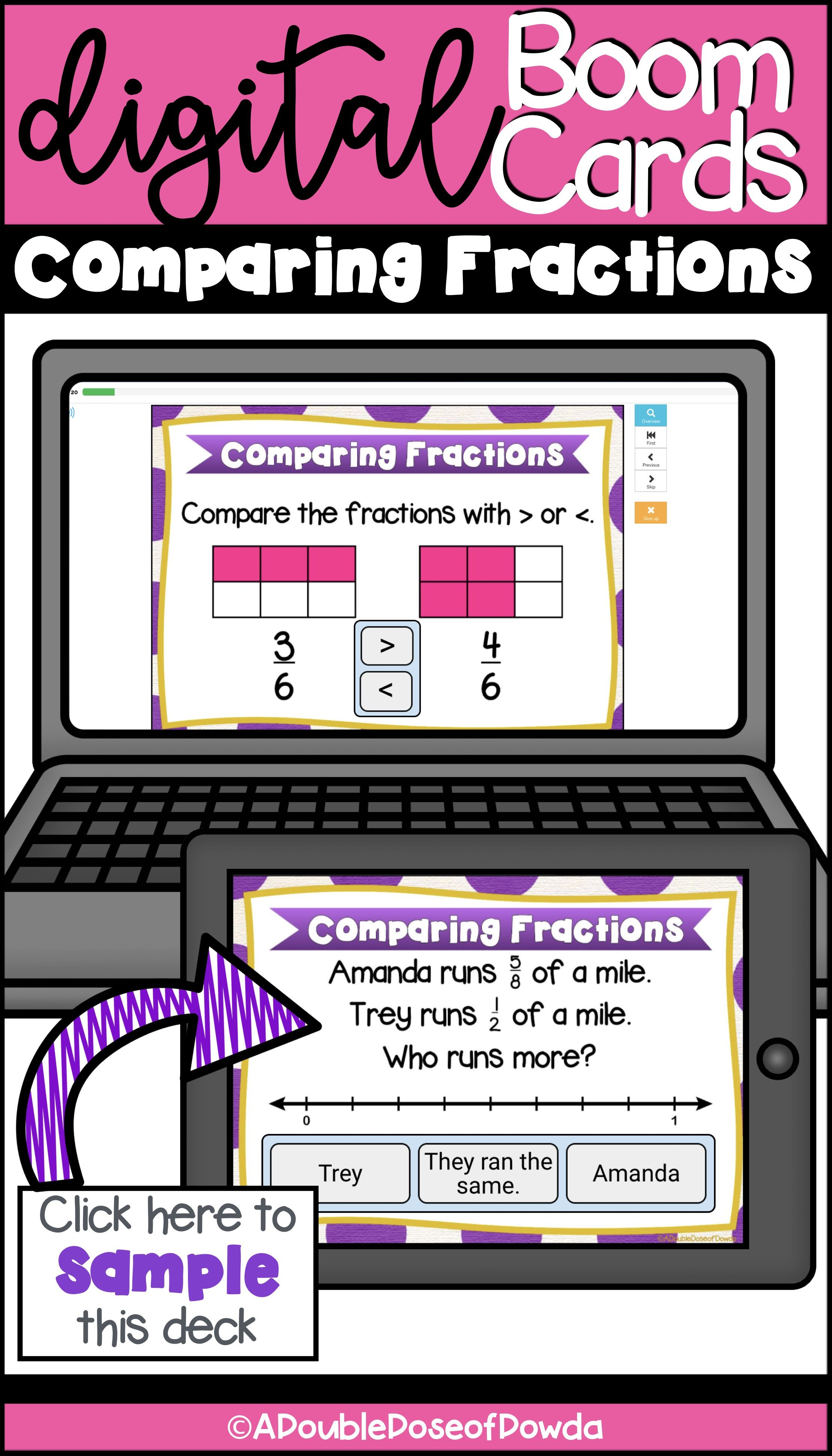 Self Grading Comparing Fractions Task Cards For Boom