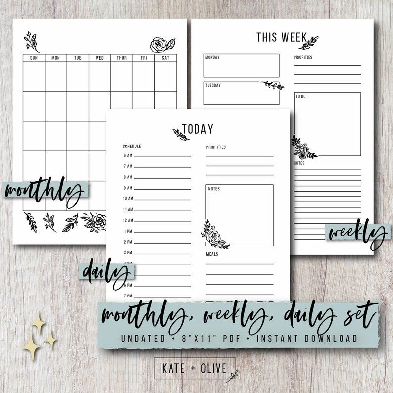 Bullet Journal Printable Planner Set Monthly Weekly Daily Inserts Floral Undated Template Letter A5 Size Pdf Instant Download Journal Printables Bullet Journal Planner Set