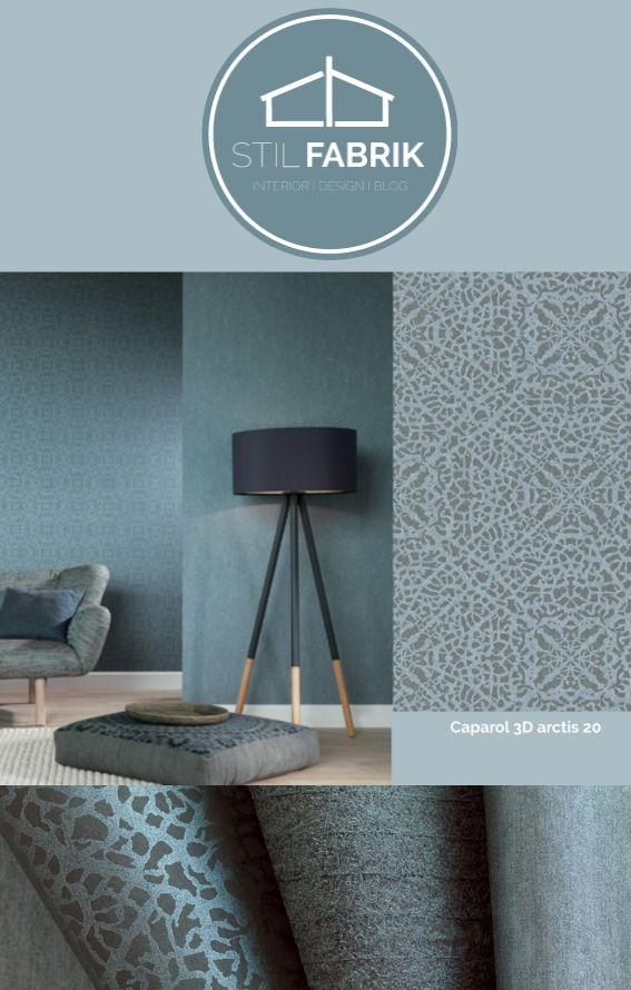 Farb-Stilkonzept Rasch-Textil Indigo-226286 Blau-Grau Ornament - wohnzimmer dekorieren schwarz