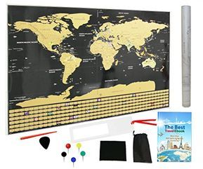 Scratch off the world map poster with us states and country scratch off the world map poster with us states and country flags track your adventures best gift for travelers sciox Image collections