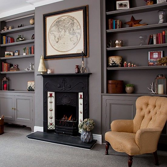 Living Room With Fireplace And Helves alwinton corner sofa handmade fabric | alcove shelving