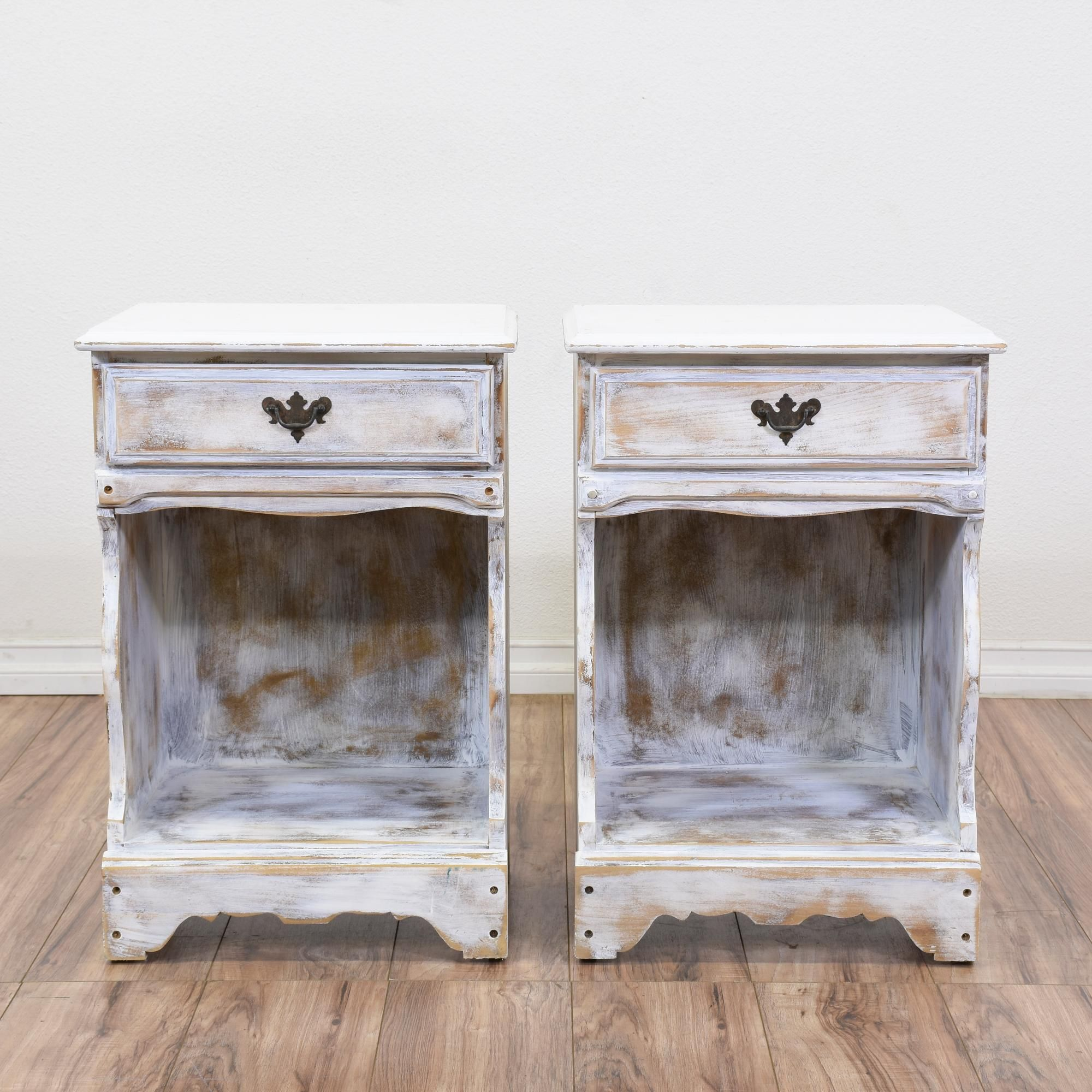 These Shabby Chic Nightstands Are Featured In A Solid Wood