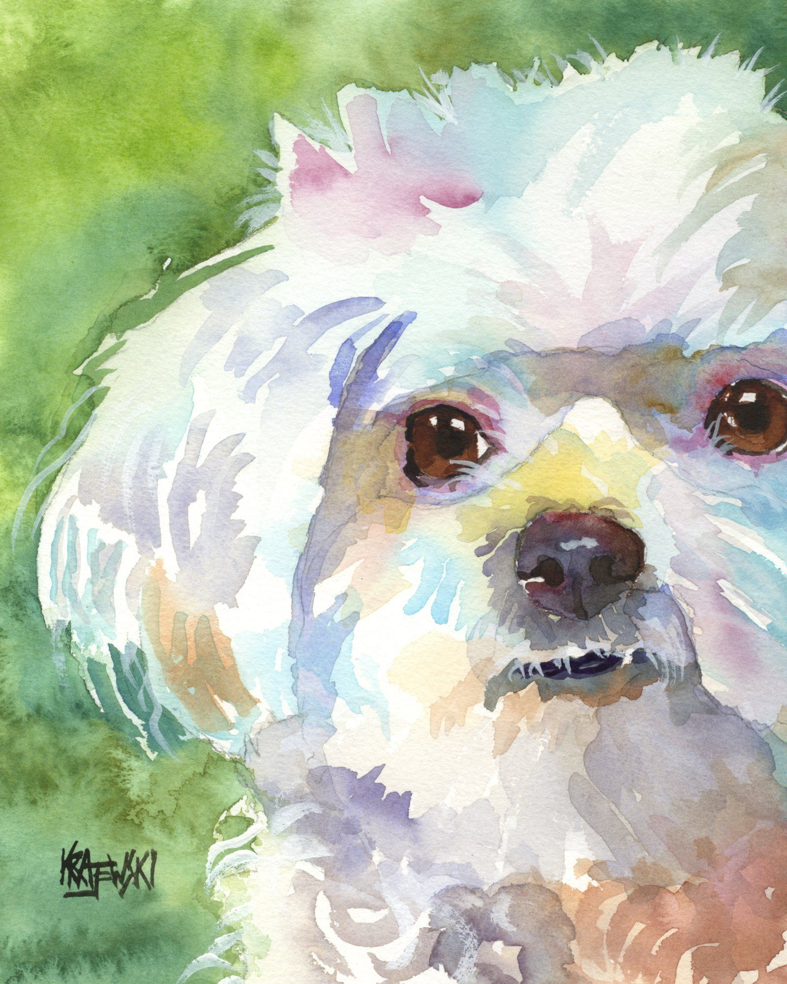 Maltese Dog Fine Art Print on 100% Cotton Watercolor Paper. About the Print: This Maltese Dog open edition art print is from an original painting by Ron Krajewski. Art print is available in 8x10 or 11x14 inches and is printed on museum quality heavy weight textured fine art paper. Quality fine art prints on quality heavy-weight 100% cotton mould-made paper, designed for fine art photography and printmaking. Print is hand signed by the artist on the front border. About the Artist: Ron...