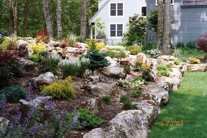 Pin By Gina Conway On Gardening Landscape Design Backyard Landscaping Landscaping With Boulders