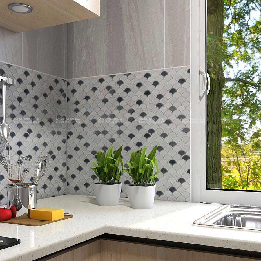 Just A Kitchen Backsplash Or Beautiful Decoration Using Ice Crackle Mix Glossy Texture To Create A Vibr Beautiful Decor Fish Scale Tile Backsplash Backsplash