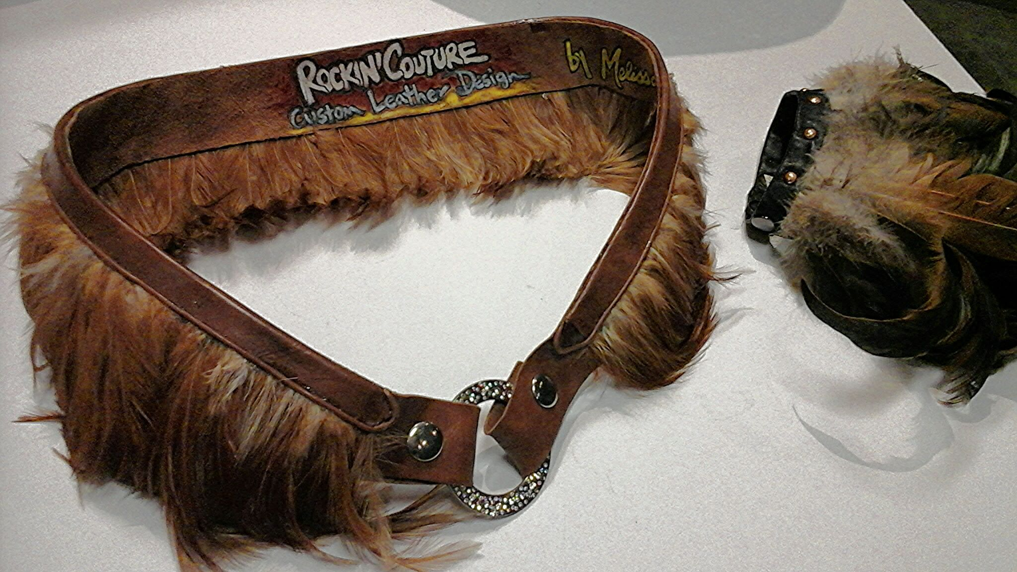feather belt and ankle or wrist cuff at www.TheRockShop.clothing featuring TheRockinEDGE