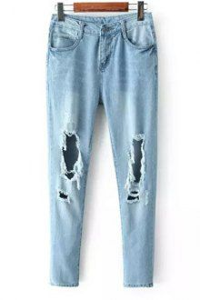 Broken Hole Narrow Feet Jeans LIGHT BLUE | Light blue jeans