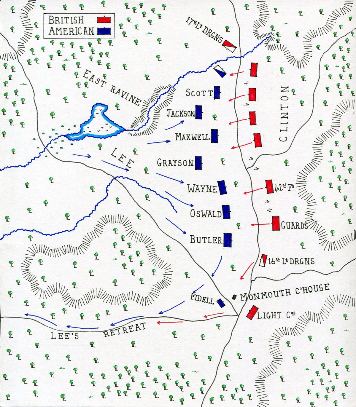 Map Of Lee S Advance At The Battle Of Monmouth On 28th
