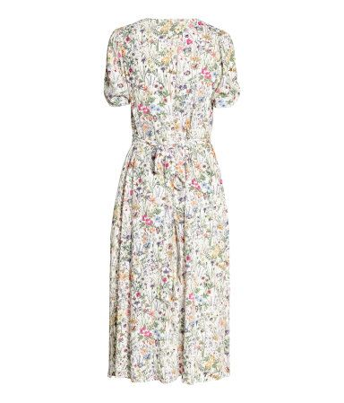 V-ringet kjole | Naturhvit/Blomstret | Dame | H&M NO