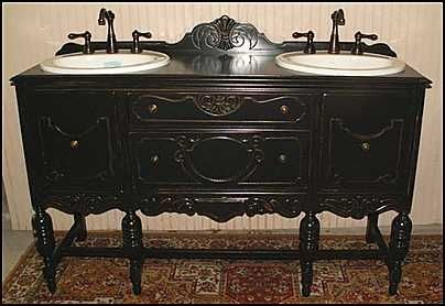 Antique Sideboard Re Purposed As A Double Bathroom Vanity In A Black Antique Patina Double Vanity Bathroom Shabby Chic Bathroom Bathroom Vanity