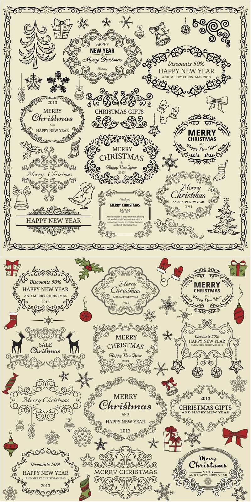 2 sets of classic vector decorative christmas ornate frames and labels with floral ornaments and embellishments for your labels cards vintage postcards - Decorative Christmas Labels