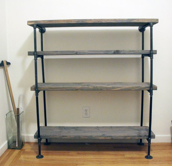 DIY Rustic Metal Pipe Wood Shelf Unit