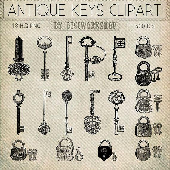 Antique Keys Clip Art Clipart Por DigiWorkshop