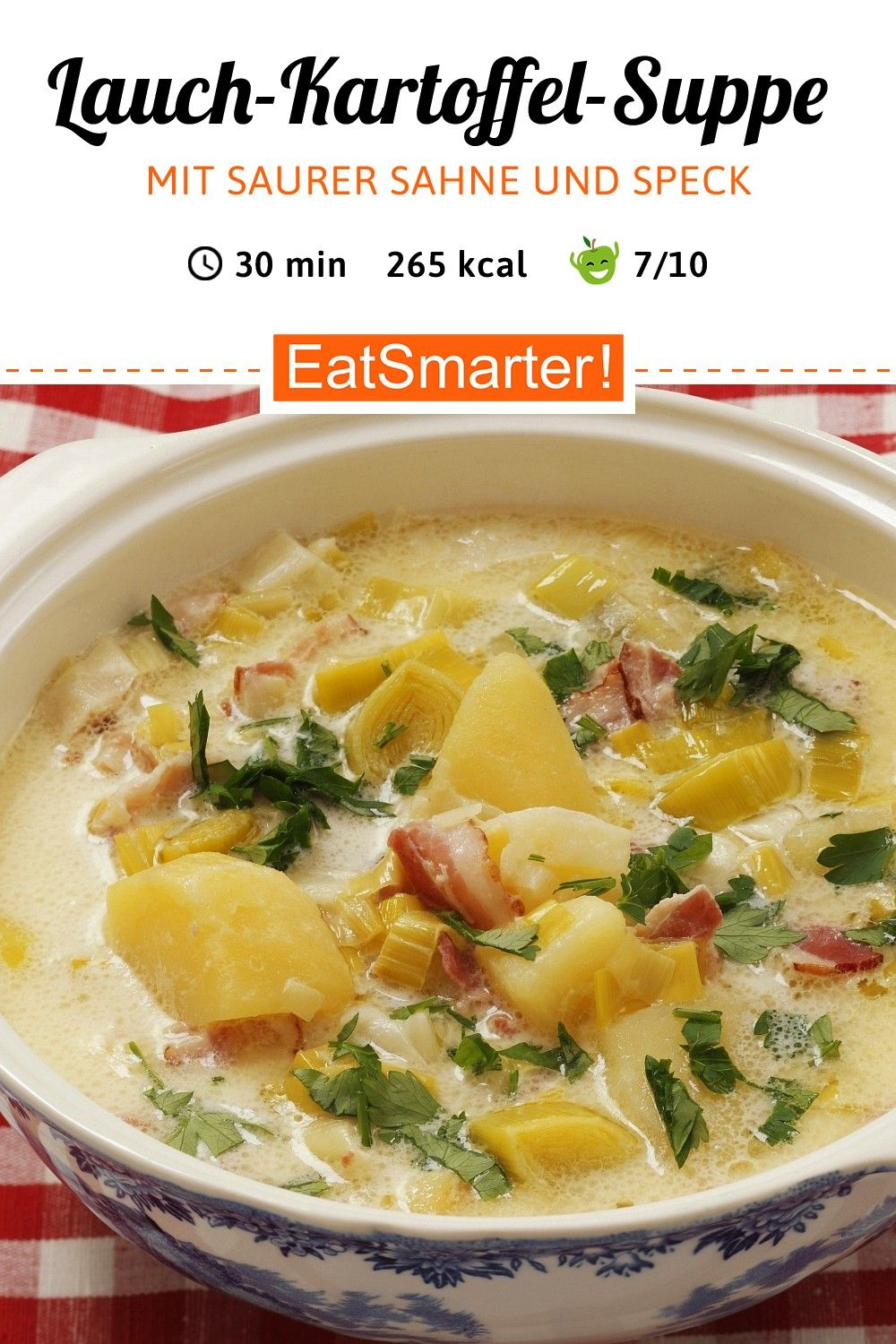 and potato soup with sour cream and bacon -  Recipe for Dinner: Leek and Potato Soup |  soup lu -Le