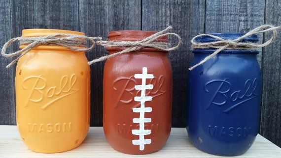 Distressed Mason Jars Chicago Bears Decor By Arnaslovelyboutique