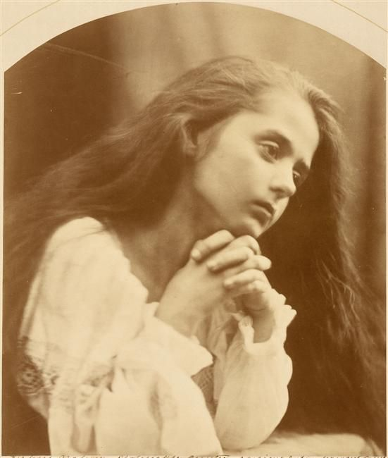 Petite fille en prière by Julia Margaret Cameron. Photo of Florence Beatrice Anson taken in 1866. Courtesy of the Musée d'Orsay.