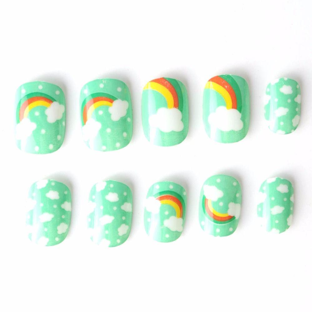 Pretty Rainbow Kit Fake Nails 10 Sizes 20 Pcs Green Blue Pre-glue ...
