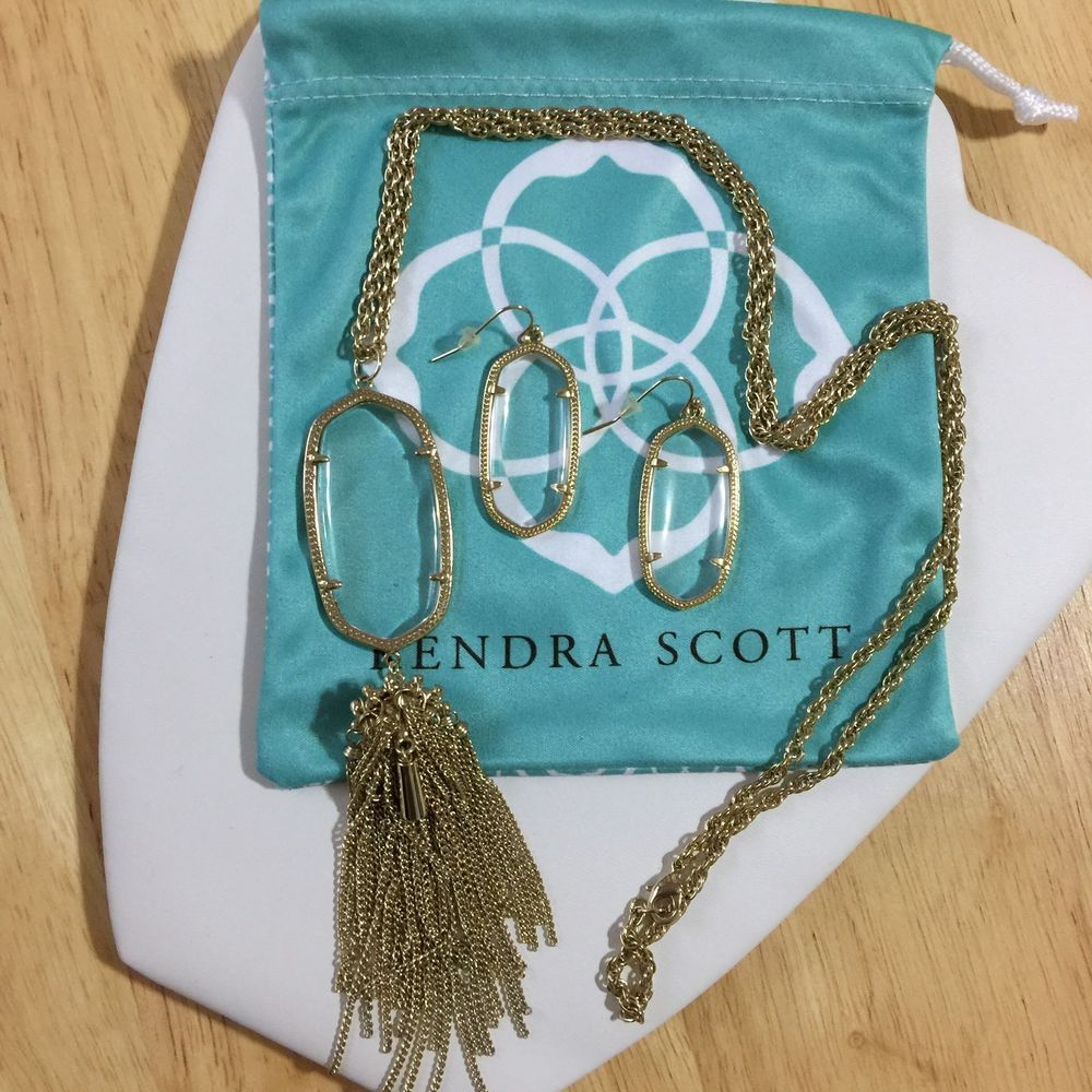 Kendra Scott Gold Elle Earrings And Rayne Necklace In Clear Glass