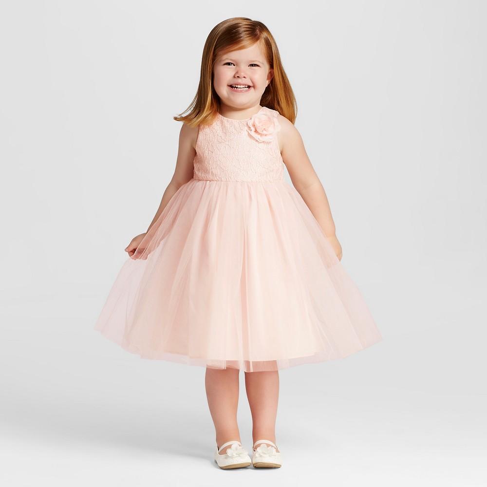 Toddler Girls' Lace Empire Waist Flower Girl Dress Tevolio - Pale Peach 2T, Orange