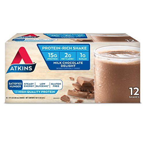 Atkins Gluten Free Protein-Rich Shake, Milk Chocolate Delight, 12 Count