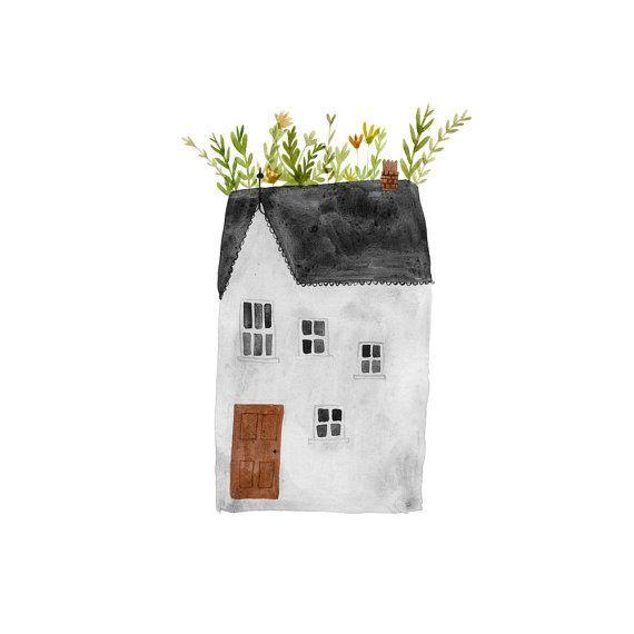 Dach Garten Kunstdruck wunderliche Hütte Aquarell Haus Malerei
