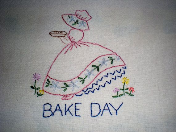 Bake Day Embroidered Dish Towel by PointedNeedle on Etsy, $10.50