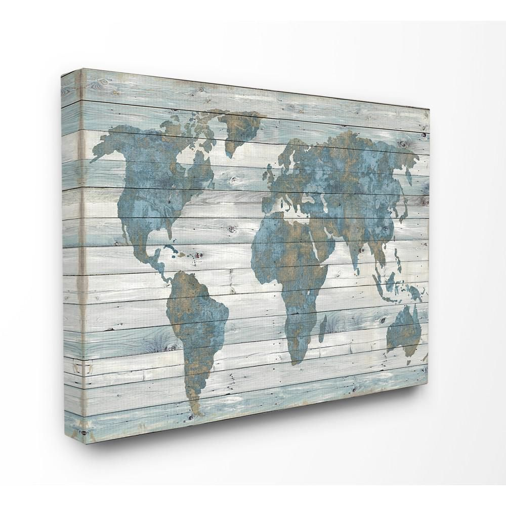 Stupell Industries 24 In X 30 In Slate Blue And Tan Rustic Weathered World Map By Artist Jamie Macdowell Canvas Wall Art Mwp 487 Cn 24x30 The Home Depot World Map Wall Art Map
