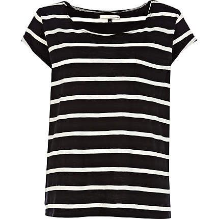 black stripe roll back sleeve t-shirt - short sleeve t-shirts - t shirts / vests / sweats - women - River Island