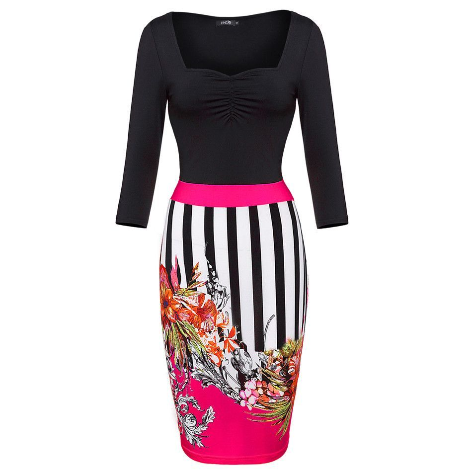 2016 New Floral Print Dress Women Summer Style Dress Bodycon Sexy Party Club Dress Plus Size 3/4 Sleeve Female Casual vestido 62