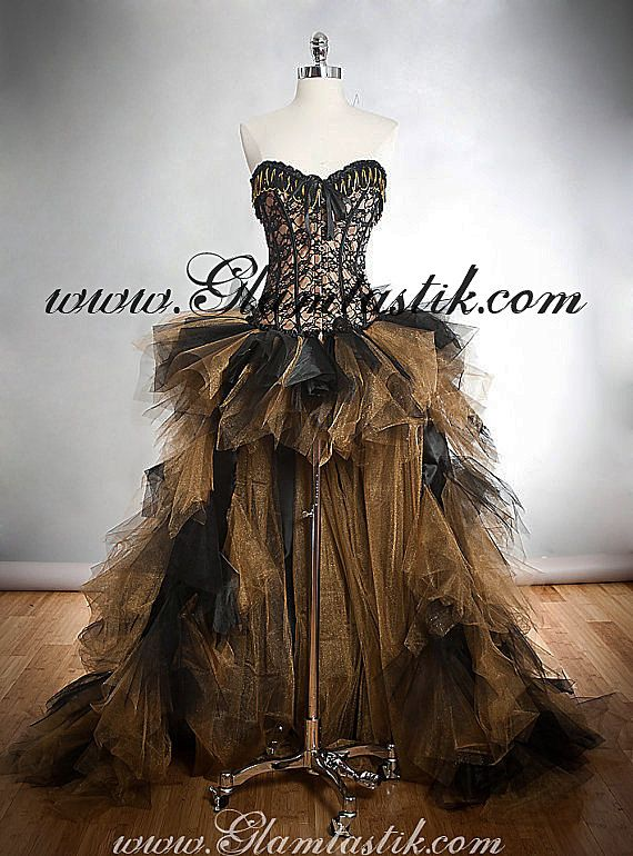 b75aad2d880 Custom Size Black and Gold lace chain and tulle Burlesque Corset Dress  short in the front long train