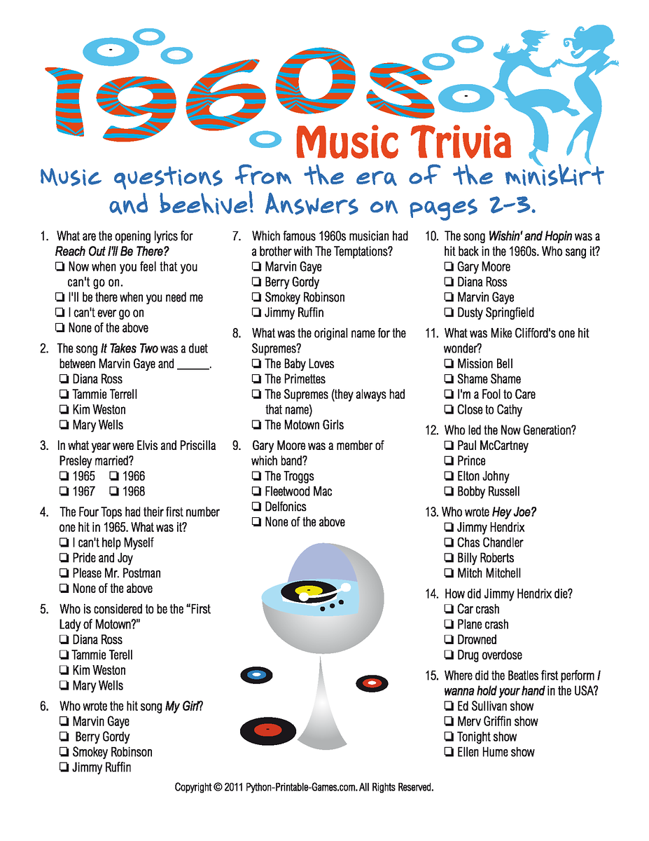 1960s Music Trivia Game | 50's/60's Rock n Roll party