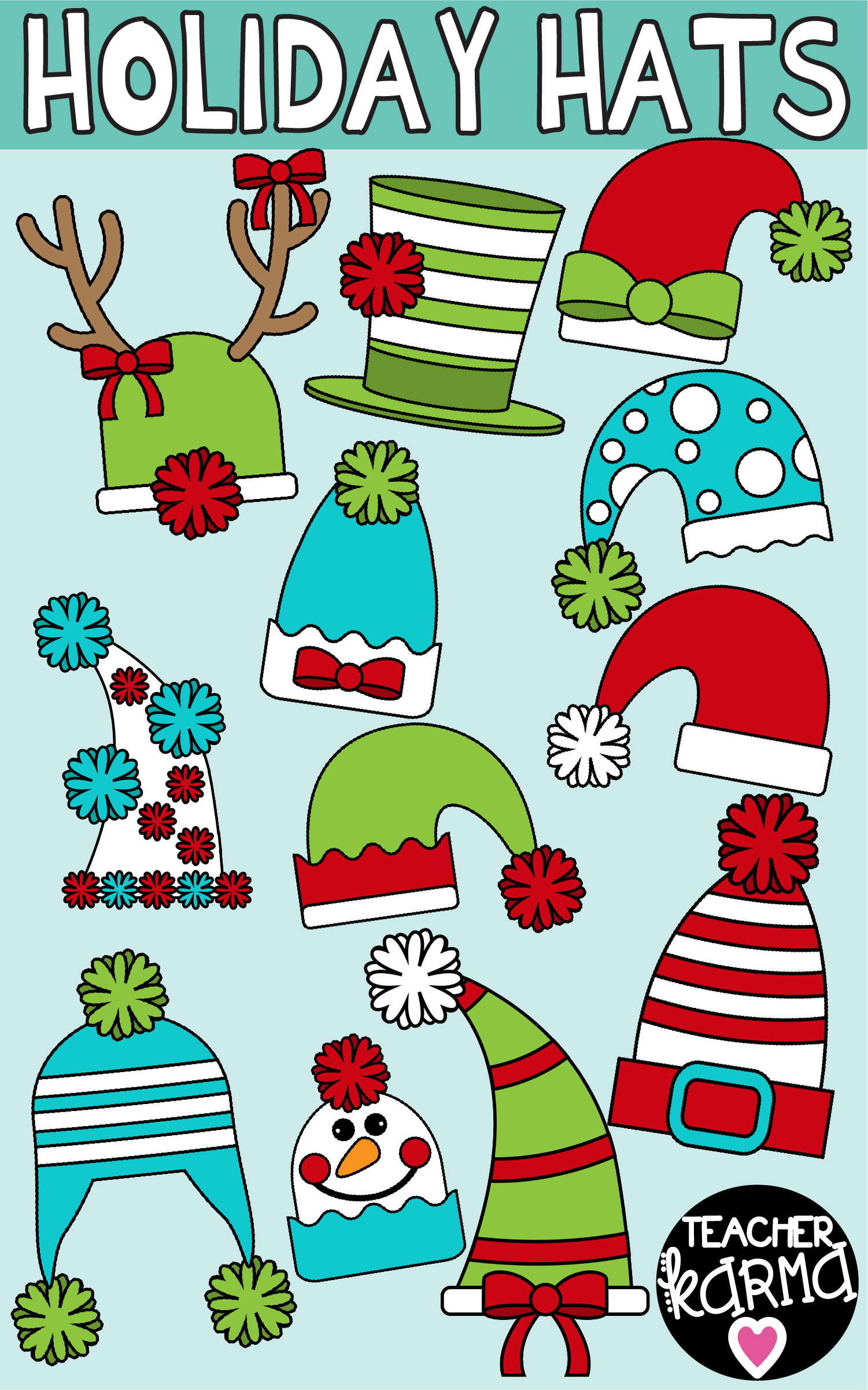 fun and ornate holiday hats clipart is perfect for your christmas and winter teaching resources  [ 1501 x 2401 Pixel ]