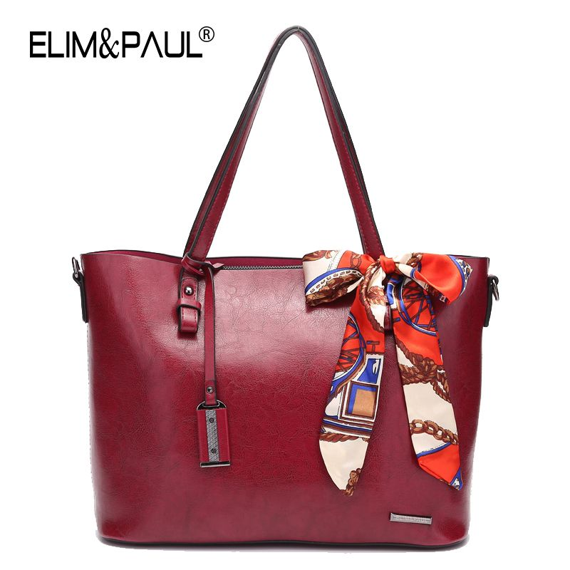 869c4d283e ELIM PAUL Leather Bags Handbags Women Famous Brands Big Casual Tote Women  Shoulder Bag Solid Fashion Ladies