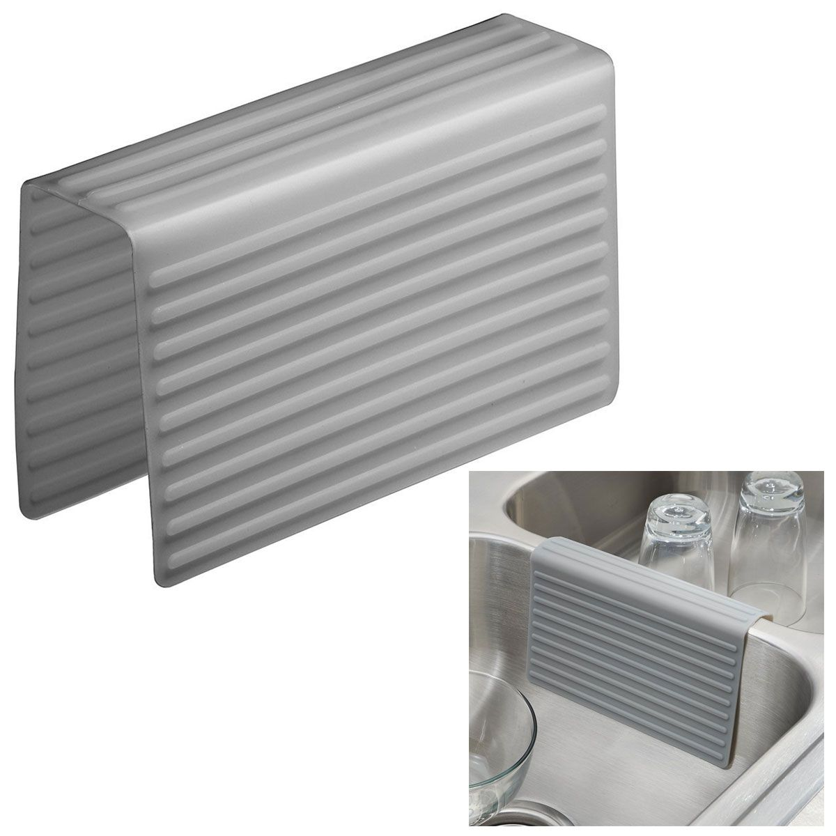 Interdesign 64183 Lineo Kitchen Sink Saddle Double Sink Protector Cover Gray Sink Accessories Sink Grey Kitchen Sink