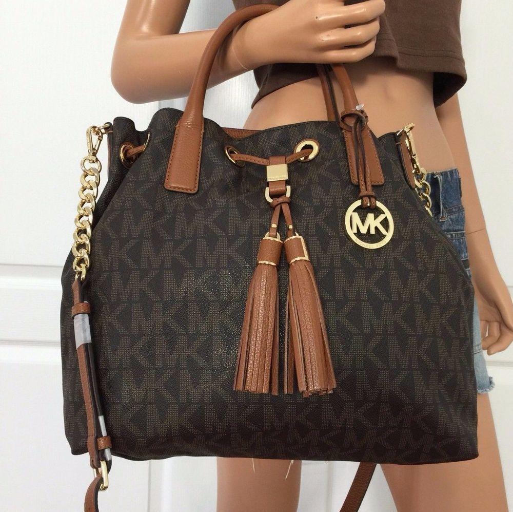583efdb973 NWT Michael Kors Brown PVC Leather Tote Shoulder Crossbody Handbag Bag Purse   MichaelKors  ShoulderBag