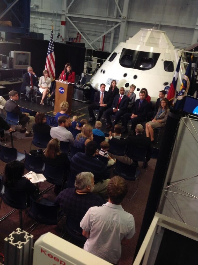 NASA's 2013 astronaut class members take questions from the media at Johnson Space Center on August 20, 2013.