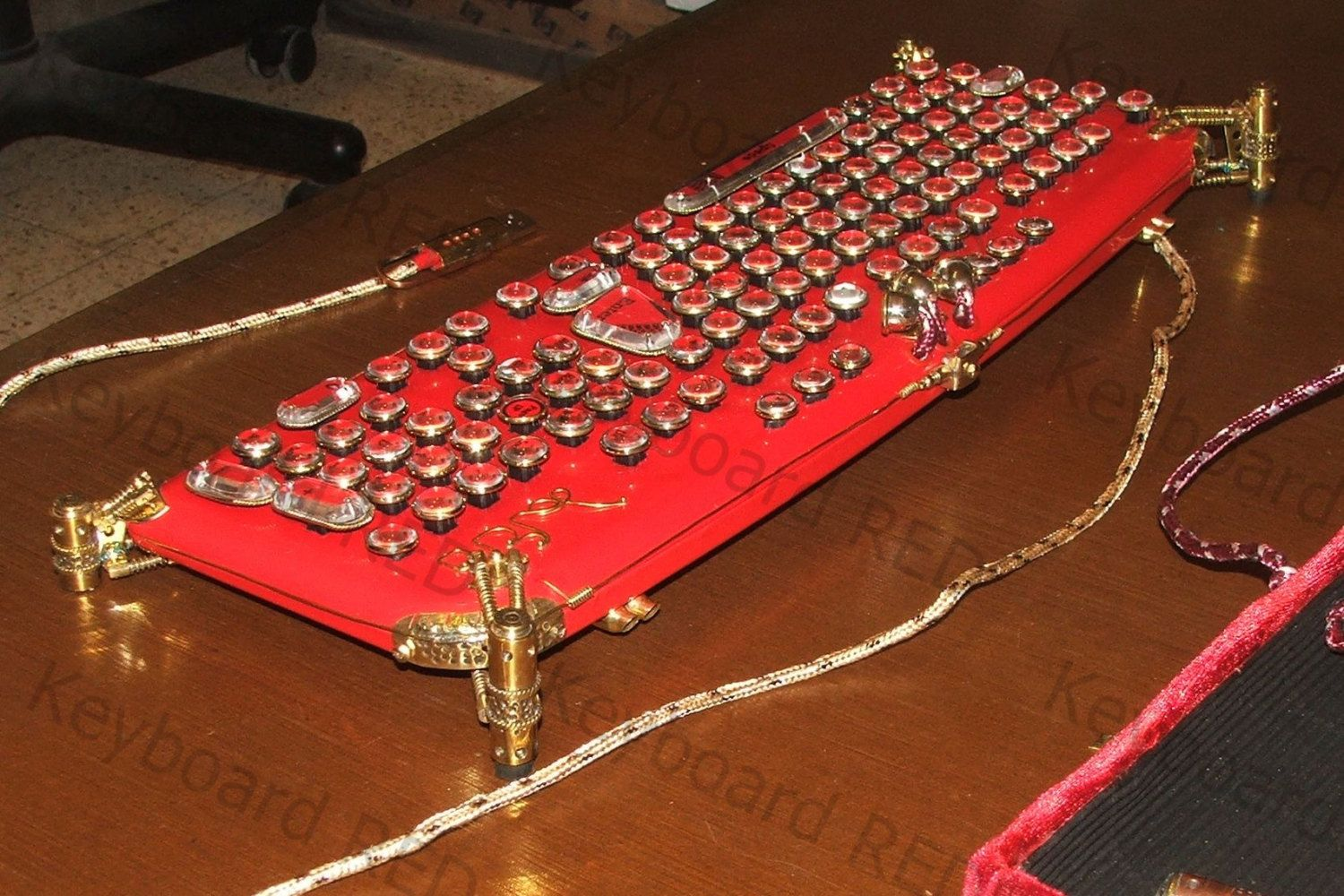 """The exclusive : RED Steampunk Keyboard  """"LaFerri """" by MagenKening on Etsy https://www.etsy.com/listing/187525684/the-exclusive-red-steampunk-keyboard"""
