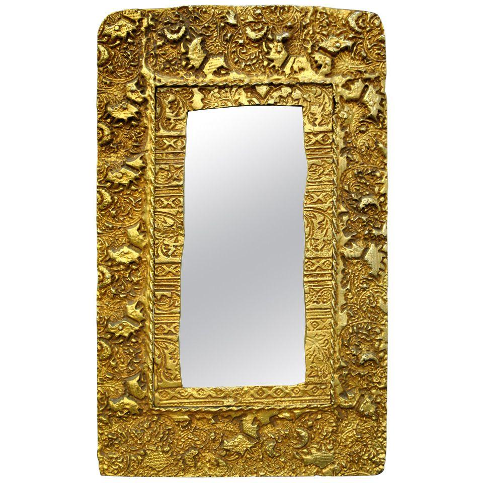 Rare Gilded Bronze Mirror by Pierre Casenova for Fondica Paris, 1994 ...