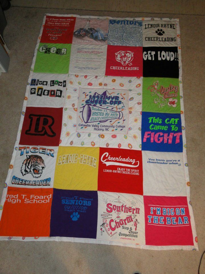 Cheerleading t-shirt quilt. https://www.facebook.com/pages/Custom-T-shirt-Quilts-by-Raye-Lin/164548903576445