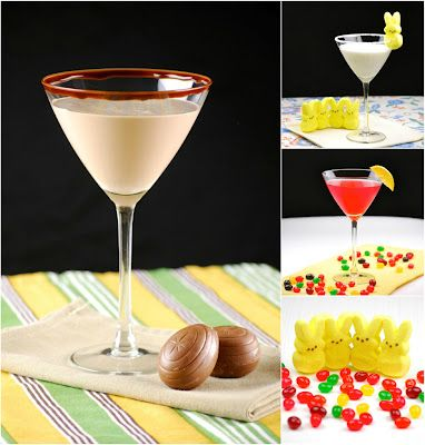 Easter Candy Cocktails - Sparkling Jelly Bean-infused Vodka Martini, Marshmallow Peep Martini, Caramel Cadbury Egg Martini