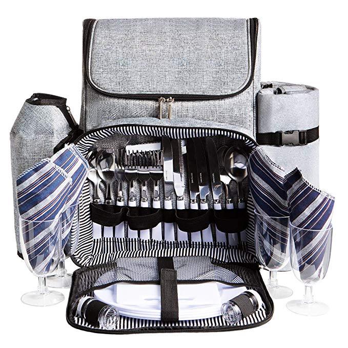 HOMAKER Picnic Backpack for 4 Person Set Pack