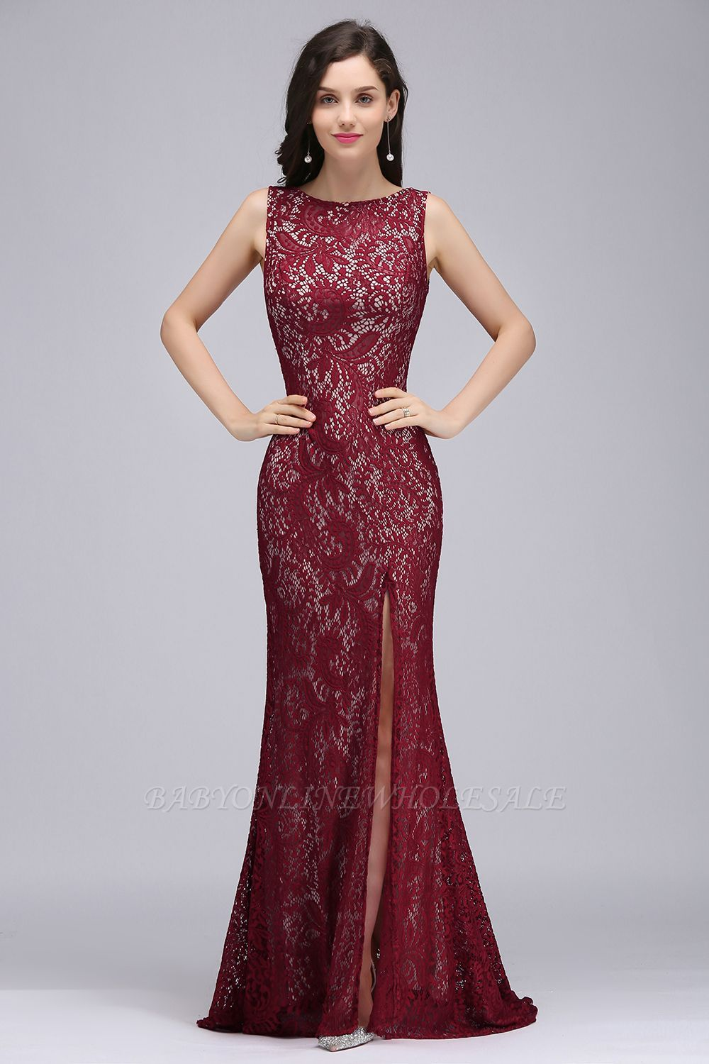 Dulce mermaid crew floorlength sleeveless burgundy lace prom