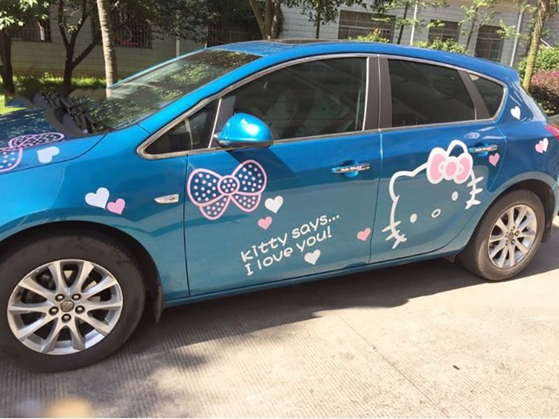 Pcs Hello Kitty Car Decal Stickers Doors Engine Back Tankcap Rear - Hello kitty car decal stickers