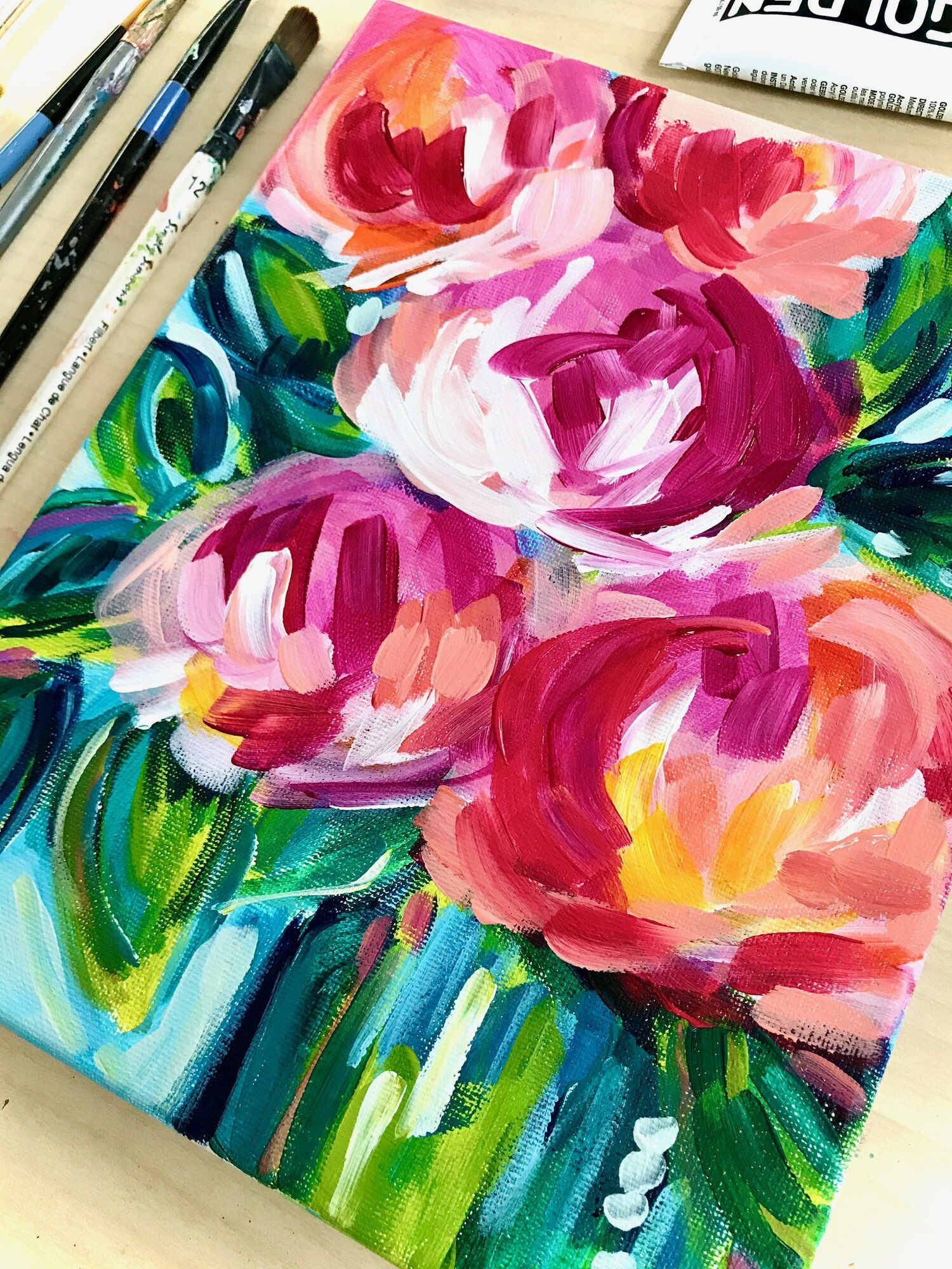 The One Thing That Will Improve Your Acrylic Painting Skills Elle Byers Art In 2020 Abstract Flower Painting Easy Flower Painting Acrylic Painting For Beginners