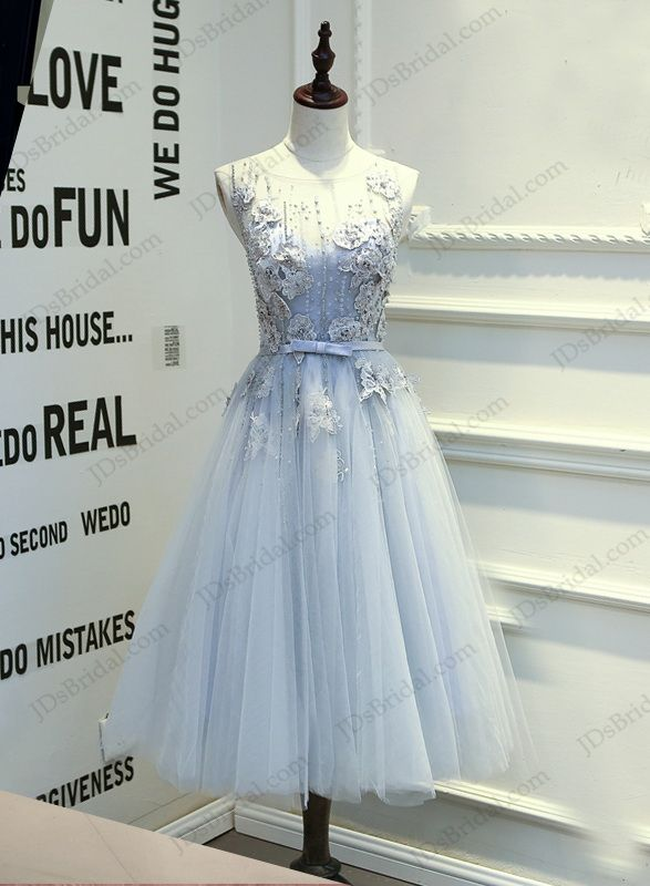 Pd16017 2016 tea length dusty blue grey backless tulle for Silver tea length wedding dresses