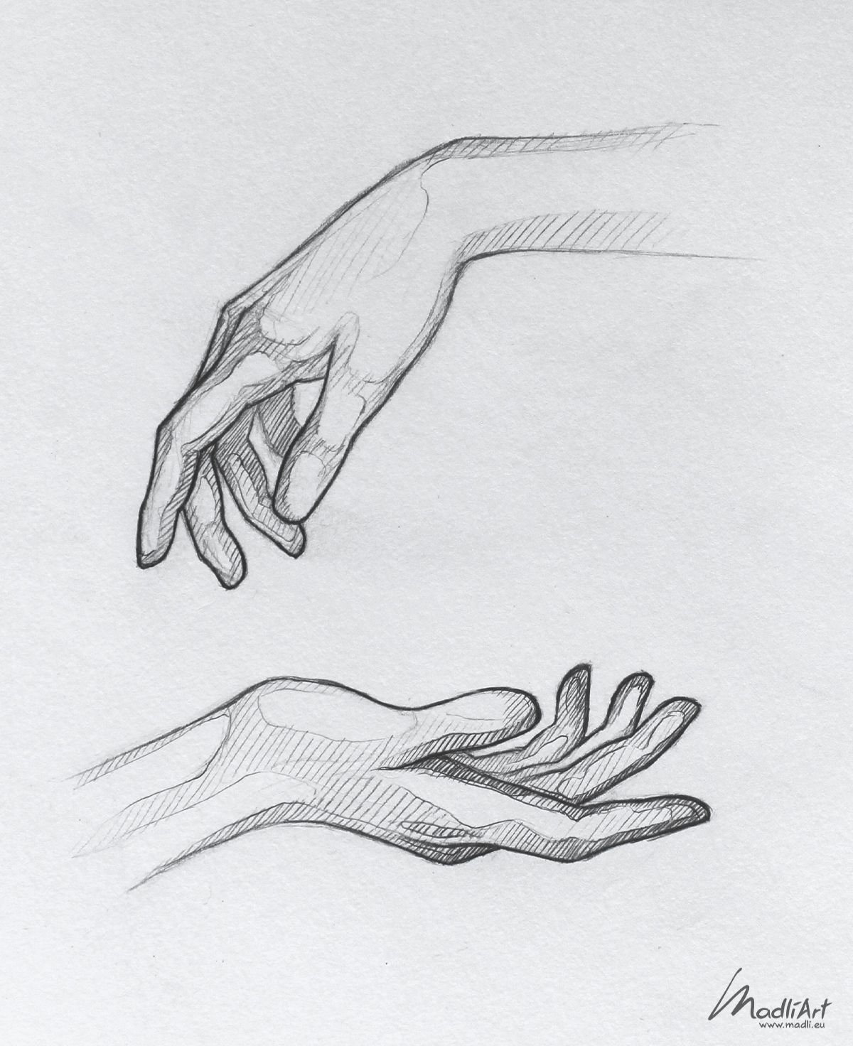 Sketchy line art - hands study