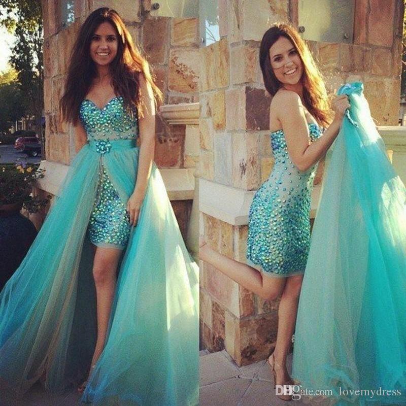 Detachable Skirt Tulle Dress Long Sheath Styel Sweetheart Neck Crystals Bling…